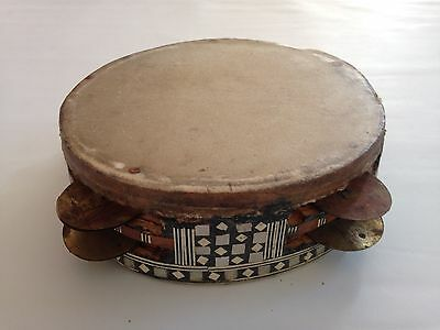 Beautiful Antique Ethnic Tribal African  Tambourine Mother Of Pearl Inlay