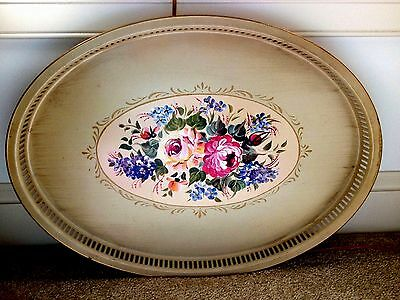 Tole Toleware Tin TRAY Antique White ROSES Flowers Large Oval Reticulated Edge