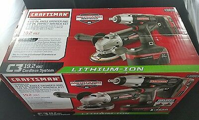 Craftsman 19.2 Volt Lithium-Ion Impact Wrench and Angle Grinder Combo Tool Kit