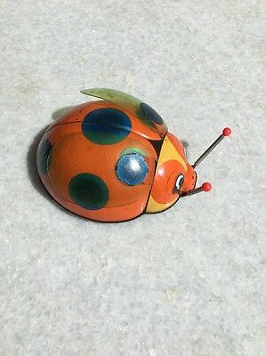 VINTAGE WIND UP Lady Beetle, Lady Bug Tin Toy. TN Japan Brand