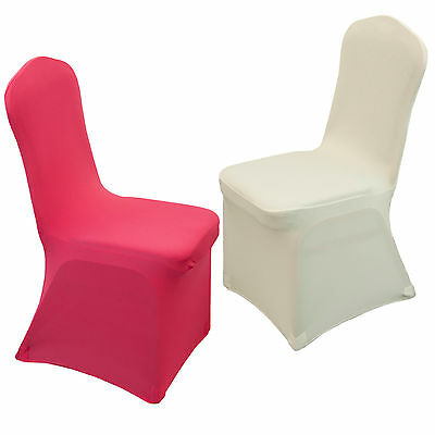 ~White Polyester Spandex Wedding Chair Covers Wholesale Lots Universal 1 10pcs