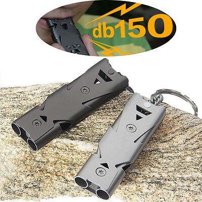150 Decibel Double Tube Stainless Steel Emergency Outdoor Survival  Whistle