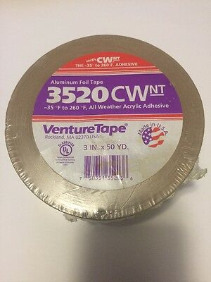 "Venture Aluminum Foil Insulation Tape 3520 CW 3"" x 50yd 1 Roll"