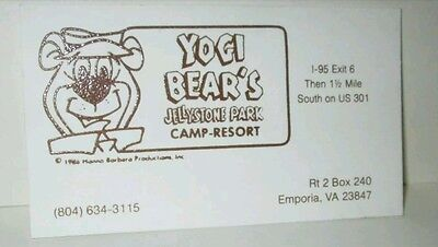Hanna Barbera Yogi Bear Jellystone Park Resort Vintage 1986 Business Card