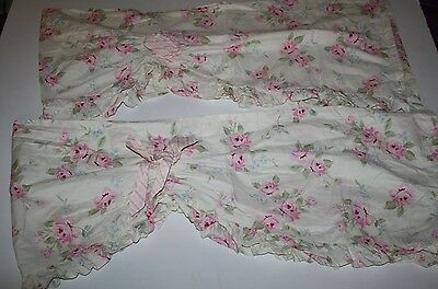 Lambs & Ivy Pink Ivory SHABBY ROSES Baby Girl Nursery Valances Curtains Set of 2