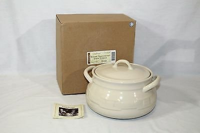 Longaberger Large Soup Tureen w/ Lid, Bean Pot Ivory Woven Traditions Pottery