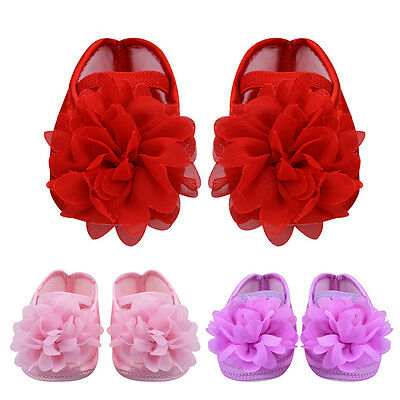 Baby Infant Girls Bownot Flower Crib Shoes Prewalkers Princess Sneakers Trainers