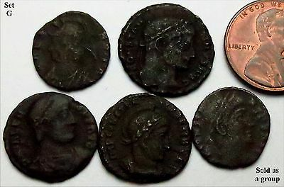 S749: x5 (FIVE) Genuine Good Grade English Found ROMAN Coins, c.300 AD - SET G