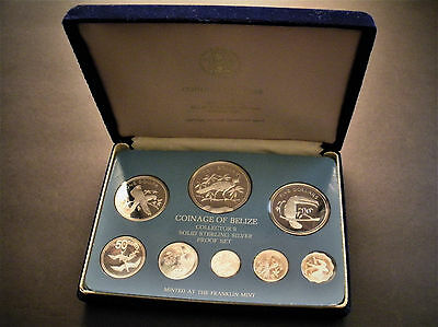 1975 All Silver Belize 8-coin Proof Set Franklin Mint w Box - 3.06 oz of silver