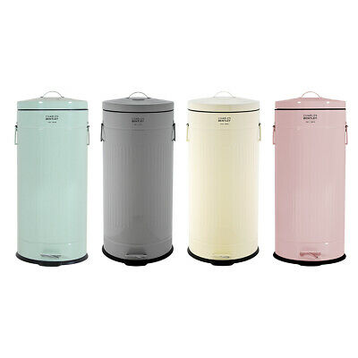 Bentley Home 30L Retro Steel Waste Rubbish Kitchen Pedal Bin - Various Colours