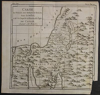 Israel Palestine Egypt 1780 Louis Brion De La Tour Antique Copper Engraved Map