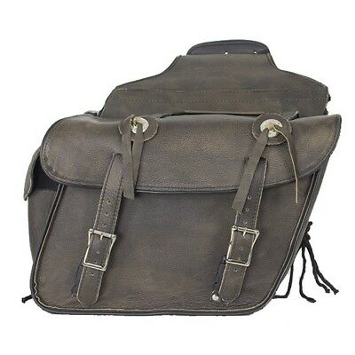 """13"""" W MOTORCYCLE BROWN LEATHER SADDLEBAGS w/ GUN HOLSTER FOR HARLEY - DDC11"""