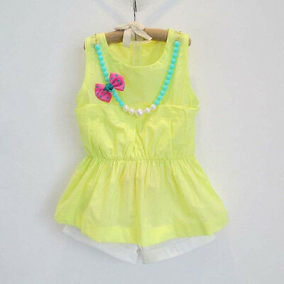 Toddler Kid Baby Girl Summer Outfit Clothes Shirt Tops+Shorts Pants+Necklace Set