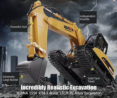 HUINA 1550 1:14 2.4GHz 15CH RC Alloy Excavator RTR Engineering RC Car YELLOW
