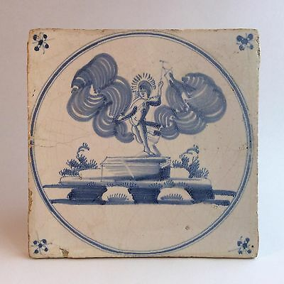Early 18th C. Delft Tile religious depiction of the Resurrection of Jesus Christ
