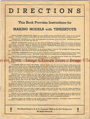 Original 1938 Toy Tinkers Tinkertoy Directions Booklet