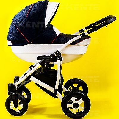 Travel system pram baby pushchair stroller iso base white eco-leather Kente 7