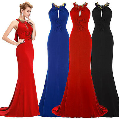 Formal Long Halter Prom Ball Gown Evening Party Bridesmaid Wedding Maxi Dress #