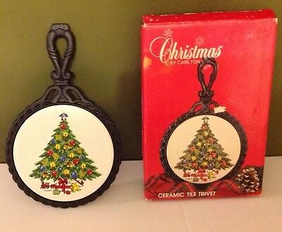 Christmas By Carlton Ceramic Tile Trivet Black Iron SABIN Holiday Art Xmas Tree