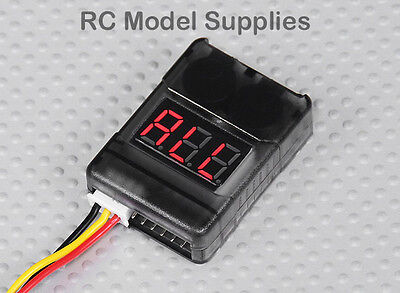 RC 2-8S LiPo LiFe Cell VOLTAGE CHECKER LOW VOLTAGE METER ALARM UK Fast Dispatch
