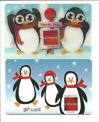Lot (2) Diff JCPenney Penguin Gift Cards No $ Value Collectible incl/ Lenticular