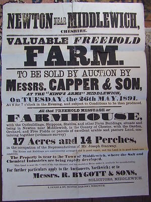 Newton Nr Middlewich, Cheshire. Farm Auction Poster. 1891.  Kings Arms