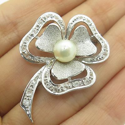 Vtg Sterling Silver Real White Topaz Gemstone Faux Pearl Clover Floral Brooch
