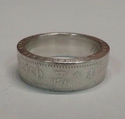 Third Reich WWII 1934 German 5 mark/Swastika  90% silver coin Ring  size 12
