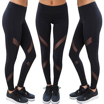 Women Sports YOGA Workout Gym Fitness Mesh Leggings Pants Athletic Clothes US LK
