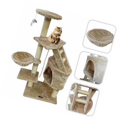 Cat tree with beige scratching post – Scratching post made of natural sis
