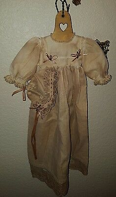 """Antique Baby Christening Gown or Doll Dress 19"""" long Bonnet & Display Hanger"""