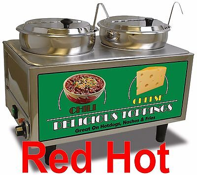 Benchmark 51072-S Double 7 QT Chili and Cheese Food Warmer 2 Ladles and Lids