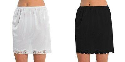 "Ladies black white waist half slip underskirt cling resist 18"" length Womens"