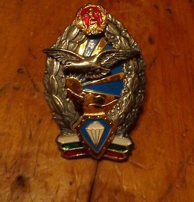 Bulgaria Parachute Badge, Current Style,same As 1946 To 51, Screw Back W/spinner