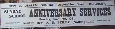 Keighley New Jerusalem Church Sunday School Anniversary Poster.  1931.