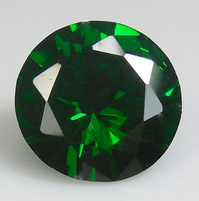 UNUSUAL 10mm ROUND-FACET DEEP-GREEN EMERALD GEMSTONE