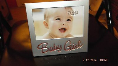 BABY GIRL gift photo frame with shiny, glittery, pink writing, new