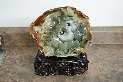 Fine Chinese Jade Jadeite Carving Mandarin Ducks