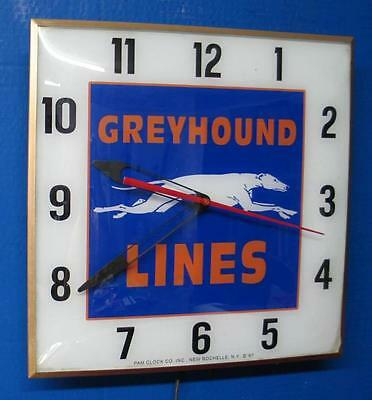 Vintage Pam GREYHOUND BUS LINES Lighted Advertizing Clock