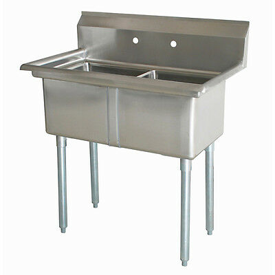 "Commercial Stainless Steel NSF 2 Compartment Sink 24"" x 24"" x 14"""