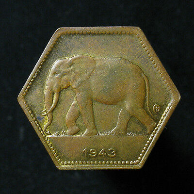 1943 Belgian Congo 2 Francs Elephant hexagon-shaped coin nice example!