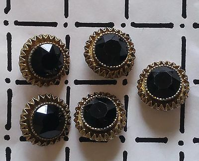 Vintage Lot of 5 Roma Round BLACK GLASS & BRASS Buttons Faceted Size 7/8""