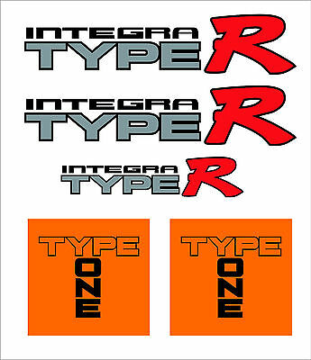 5 PCS Integra Type R and Type One Decal Kit OE Fitment. JDM DC2 DC4 B18C Vtec