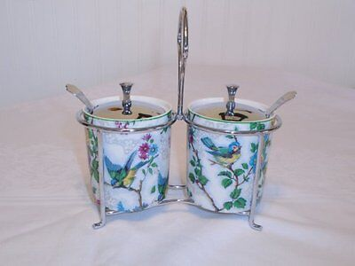 Rare Vtg Double Set Jam Jelly Lorna Doone Midwinter Bird Chintz England Exc Cond