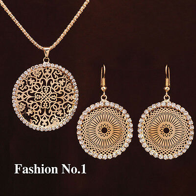 Stunning 18K Gold Plated Crystal Round Pendant Necklace Earrings Jewelry Set!
