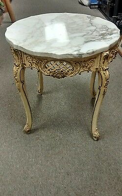 French Provincial Round End Table Mid Century Cream With Marble Top Estate Find!