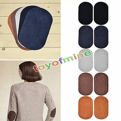 2Pcs Suede Leather Iron-on Oval Elbow Knee Patches DIY Repair Sewing Applique SS