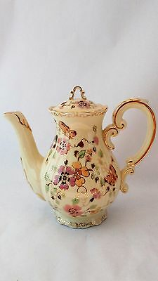 Rare Zsolnay Butterflies & Flowers Handpainted Small Coffee Pot With Lid ZSO2