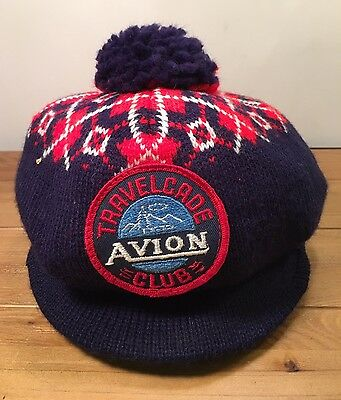 Vintage AVION Travelcade Club Cap Travel Trailer Hat Knit Red White Blue EUC