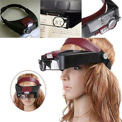 10X Lighted Magnifying Glass Headset LED Light Head Headband Magnifier Loupe #@